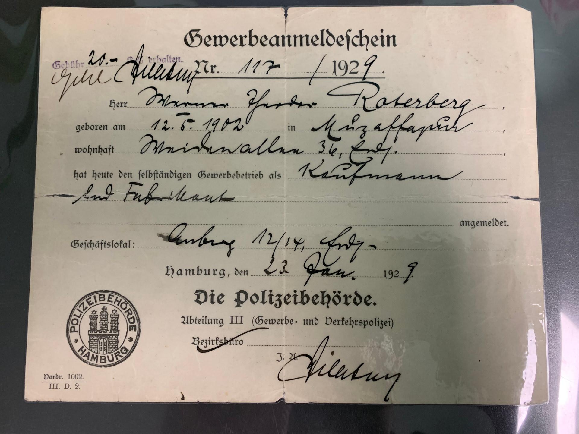 Gewerbeanmeldung von 1929 - Roterberg Maschinenbau - Kleve